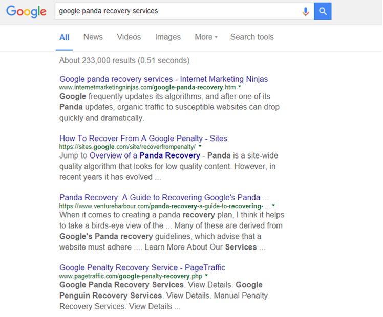screen shot of Google Panda